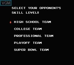 Image du menu du jeu 10-Yard Fight sur Nintendo NES