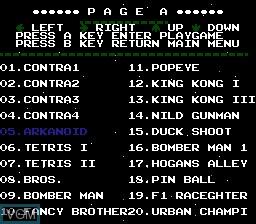 Image du menu du jeu 100-in-1 Contra Function 16 sur Nintendo NES