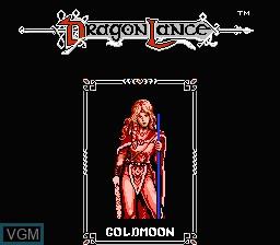 Image du menu du jeu Advanced Dungeons & Dragons - Heroes of the Lance sur Nintendo NES