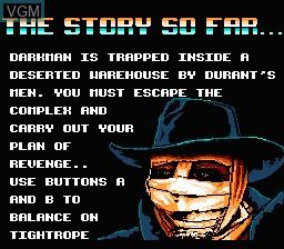 Image du menu du jeu Darkman sur Nintendo NES