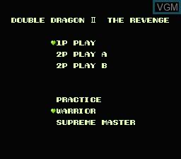 Image du menu du jeu Double Dragon II - The Revenge sur Nintendo NES