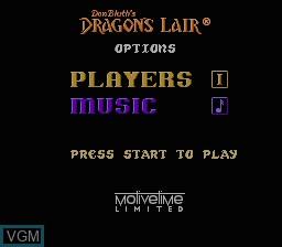 Image du menu du jeu Dragon's Lair sur Nintendo NES