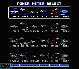 Image du menu du jeu Gradius II sur Nintendo NES
