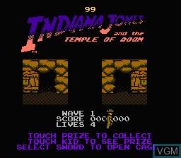 Image du menu du jeu Indiana Jones and the Temple of Doom sur Nintendo NES