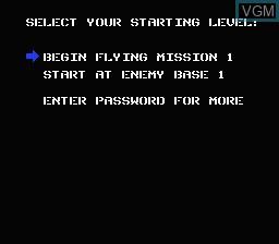 Image du menu du jeu Infiltrator sur Nintendo NES