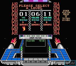 Image du menu du jeu Klax sur Nintendo NES