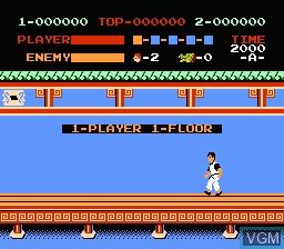 Image du menu du jeu Kung Fu sur Nintendo NES