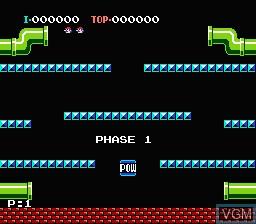Image du menu du jeu Mario Bros. sur Nintendo NES