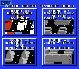 Image du menu du jeu Pac-Mania sur Nintendo NES