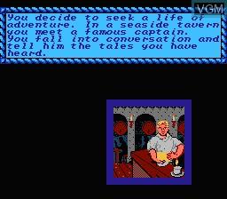 Image du menu du jeu Pirates! sur Nintendo NES