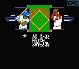 Image du menu du jeu R.B.I. Baseball 2 sur Nintendo NES
