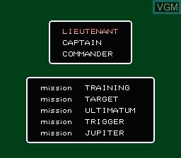 Image du menu du jeu Rescue - The Embassy Mission sur Nintendo NES