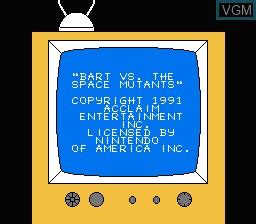 Image du menu du jeu Simpsons, The - Bart Vs. the Space Mutants sur Nintendo NES