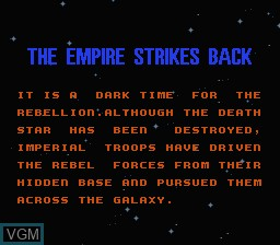 Image du menu du jeu Star Wars - The Empire Strikes Back sur Nintendo NES