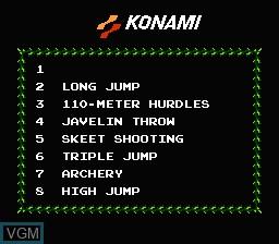 Image du menu du jeu Track & Field sur Nintendo NES
