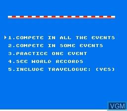 Image du menu du jeu World Games sur Nintendo NES