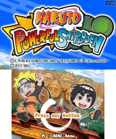 Image de l'ecran titre du jeu Naruto Powerful Shippuden sur Nintendo 3DS