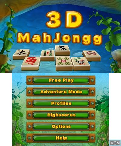 Image de l'ecran titre du jeu 3D MahJongg sur Nintendo 3DS