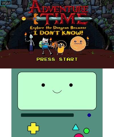 Image de l'ecran titre du jeu Adventure Time - Explore the Dungeon Because I DON'T KNOW! sur Nintendo 3DS