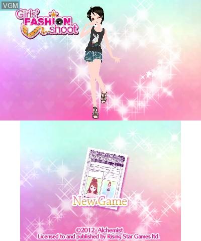Image de l'ecran titre du jeu Girls' Fashion Shoot sur Nintendo 3DS