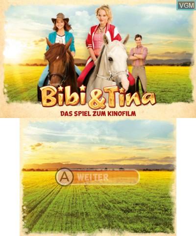 Image de l'ecran titre du jeu Bibi & Tina - Das Spiel zum Film sur Nintendo 3DS