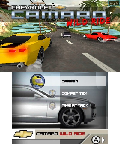 Image de l'ecran titre du jeu Chevrolet Camaro Wild Ride 3D sur Nintendo 3DS