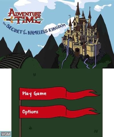 Image de l'ecran titre du jeu Adventure Time - The Secret of the Nameless Kingdom sur Nintendo 3DS