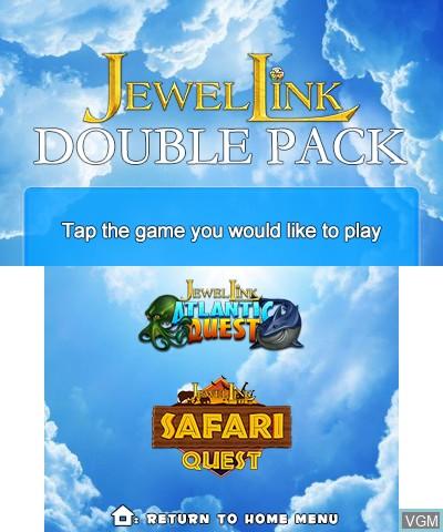 Image de l'ecran titre du jeu Jewel Link Double Pack - Safari Quest & Atlantic Quest sur Nintendo 3DS