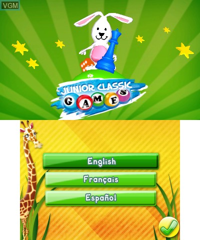 Image de l'ecran titre du jeu Junior Classic Games 3D sur Nintendo 3DS