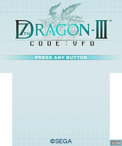 Image de l'ecran titre du jeu 7th Dragon III Code - VFD sur Nintendo 3DS