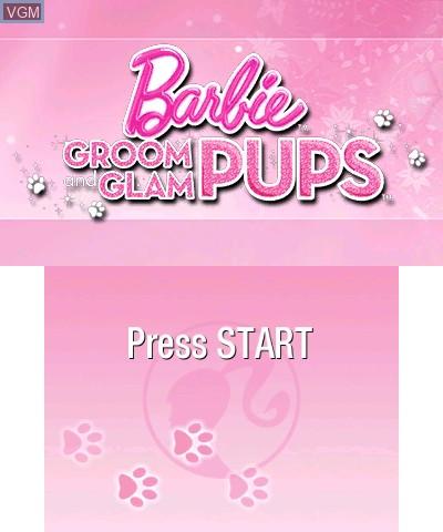 Image de l'ecran titre du jeu Barbie - Groom and Glam Pups sur Nintendo 3DS
