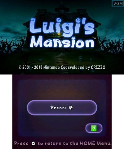Image de l'ecran titre du jeu Luigi's Mansion sur Nintendo 3DS