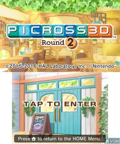 Image de l'ecran titre du jeu Picross 3D - Round 2 sur Nintendo 3DS