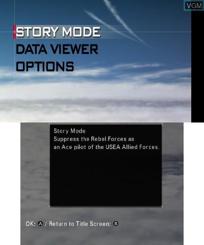 Image du menu du jeu Ace Combat - Assault Horizon Legacy sur Nintendo 3DS