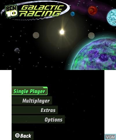 Image du menu du jeu Ben 10 - Galactic Racing sur Nintendo 3DS