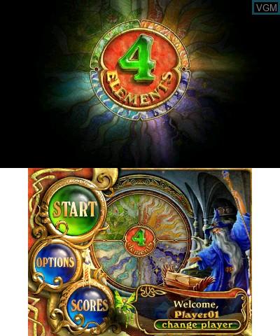 Image du menu du jeu 4 Elements sur Nintendo 3DS