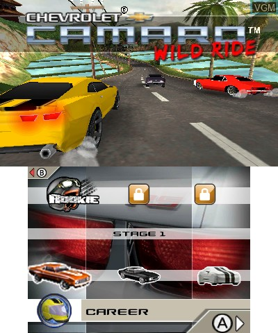 Image du menu du jeu Chevrolet Camaro Wild Ride 3D sur Nintendo 3DS