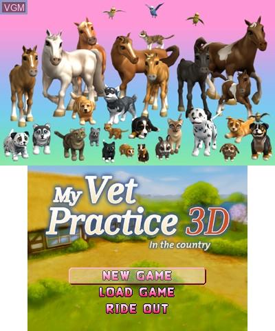Image du menu du jeu 2 in 1 - My Vet Practice 3D and My Baby Pet Hotel 3D sur Nintendo 3DS