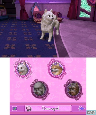 Image du menu du jeu Barbie - Groom and Glam Pups sur Nintendo 3DS
