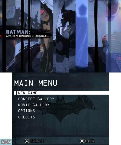 Image du menu du jeu Batman - Arkham Origins Blackgate sur Nintendo 3DS