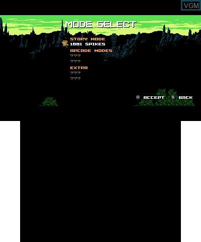 Image du menu du jeu 1001 Spikes sur Nintendo 3DS