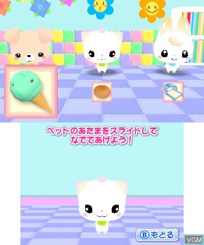 Image in-game du jeu CharaPet Tsukutte! Sodatete! Character Shougakkou sur Nintendo 3DS