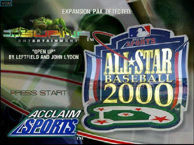 Image de l'ecran titre du jeu All-Star Baseball 2000 sur Nintendo 64