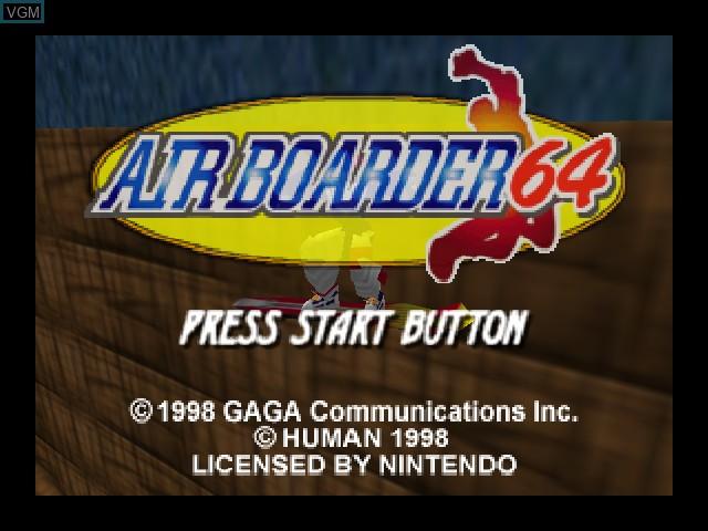 Image de l'ecran titre du jeu Airboarder 64 sur Nintendo 64