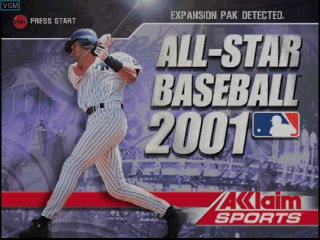 Image de l'ecran titre du jeu All-Star Baseball 2001 sur Nintendo 64