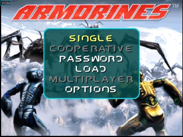 Image de l'ecran titre du jeu Armorines - Project S.W.A.R.M. sur Nintendo 64