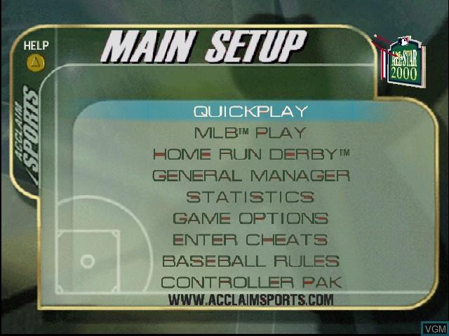 Image du menu du jeu All-Star Baseball 2000 sur Nintendo 64