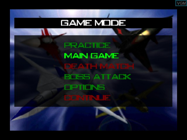 Image du menu du jeu AeroFighters Assault sur Nintendo 64