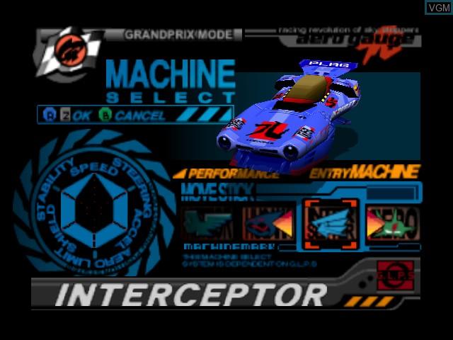 Image du menu du jeu AeroGauge sur Nintendo 64