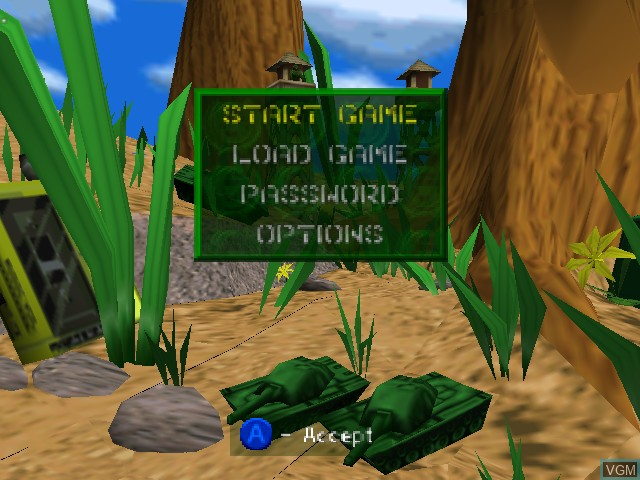 Image du menu du jeu Army Men - Air Combat sur Nintendo 64